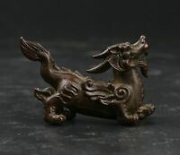 52MM Collect Chinese Fengshui Bronze Animal Kylin Chi-lin Amulet Pendant Statue