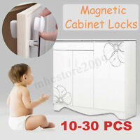 10-30 PCS Magnetic Cabinet Drawer Cupboard Locks Child Kids Proofing Baby Safety