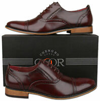 Mens New Oxblood Lace Up Leather Lined Capped Brogue Shoes Size6 7 8 9 10 11 12