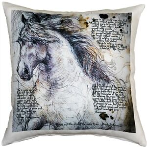 """The Love of Horses Throw Pillow Gorgeous 17"""" x 17"""" with Zippered Washable Cover"""