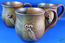 Stamped GUMNUT (3) Handcrafted Stoneware Pottery Mugs EXC Collectable -Australia