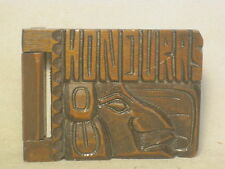 unique small hard wood HONDURAS carved notebook Indian Face wooden book