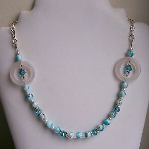 New White Agate Donut & Blue & White Glass Bead Silver Plated Necklace