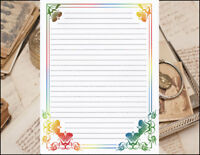 Fun Bordered Design Lined Stationery Writing Paper Set, 25 sheets & 10 envelopes