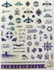 Nail Art 3D Decal Stickers Pier Nautical Beach Ocean Sailing Summer Surf CA064