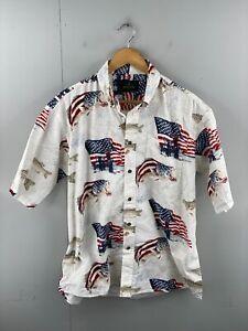 RedHead Men's Vintage Short Sleeve USA Flag Fishing Hawaiian Shirt Size L White