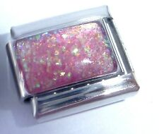 PINK GLITTER RECTANGLE Italian Charm October June Birthstone 9mm Classic Size