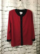 RUTH NORMAN New York Sz Large Red Black Top Tunic Button Down Long Sleeve USA