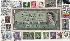 1954 CANADA Canadian ONE 1 DOLLAR  CIRCULATED  BILL NOTE WITH MNH STAMPS