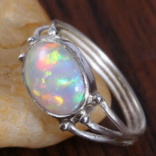 Ethiopian Opal 925 Sterling Silver Band Ring Handmade Jewelry kd8780