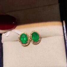 Certified Fashion Natural Columbia Emerald Earrings 925 Silver Plated Gold Gift