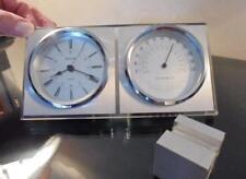Vintage Bulova/Quartz Clock/Thermometer-mounted on heavy brushed metal base