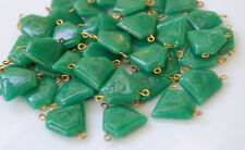 VINTAGE GREEN OPAQUE GLASS PENTAGON BEAD CONNECTOR OLD ANTIQUE POINTED SHIELD