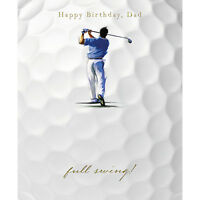 "Dad Birthday Card ""Golfer In Full Swing"" Size 7"" x 5.75"" - JRHI 0011"