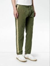 "PALM ANGELS SIDE STRIPE CHINOS OLIVE COTTON TWILL GOLD BRAID IT 48 UK 32"" £333"