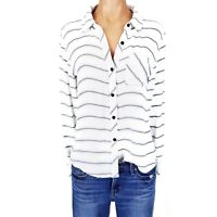Rails Shirt Small S Top Blouse Womens Blue White Striped Button Down L/S Summer