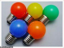 E27 - 5er MIX HQ 1,5 Watt SMD LED bunte Tropfenlampe farbige Glühlampe vergl.15W