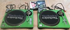 Technics SL1200MK3D Powder Coated Green Covered Turntable Set W/ Dicers