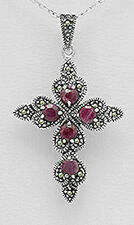 """2.13"""" Solid Sterling Silver Ruby and Swiss Marcasite Cross Pendant 12.2g"""