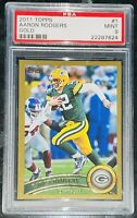 Pop 1 of 2💎Aaron Rodgers 2011 Topps GOLD SP /2011 #1 PSA 9 BGS 🔥None graded ^!