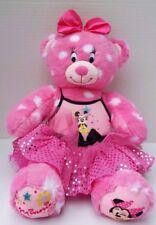 Disney Build a Bear Minnie Mouse Plush Doll Pink Bow Magic Spark Polka Dot Dress
