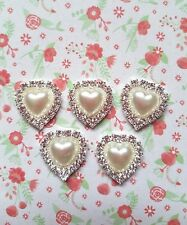5pcs x Sparkly DIAMANTE & PEARL HEART Shape Flatback Embellishments Craft UK