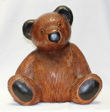 Wooden Teddy Bear 33cm tall handcarved from Acacia wood in Thailand Fair Trade