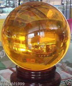 100mm+Stand Asian Rare Natural Quartz Yellow Magic Crystal Healing Ball Sphere