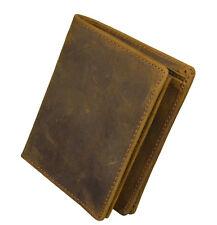Men's genuine leather pocket Wallet Bifold short purse with zipper coin pocket