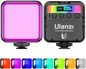 Video Light RGB, ULANZI VL49 Camera Light Mini 360° Full-Color 3 Cold Shoe