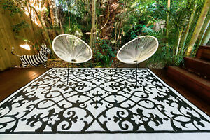 200x270cm Outdoor/Indoor Plastic Rug GATSBY BLACK WHITE Waterproof Modern