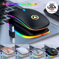 Mini Wireless Mouse Silent USB Mice 2.4GHz Rechargeable RGB For PC Laptop