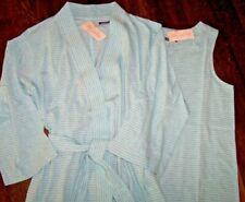 NWT Carole Hochman $113 Aqua Blue/Heather Gray Stripe ROBE + GOWN SET M COTTON