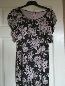 Next with Love ladies dress brown with pink flowers UK 12 womens floral frock