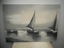 "T. MARI SAILBOATS SIGNED OIL PAINTING - LOVELY SHADES OF GRAY & WHITE 27"" x 19""!"