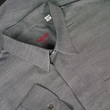 VALENTINO 100% Cotton Oxford Fly Front Point Collar Dress Shirt Size XL (17)