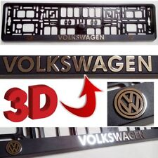 2x VW 3D Chrome Effect Number Plate Surrounds Holder Frame