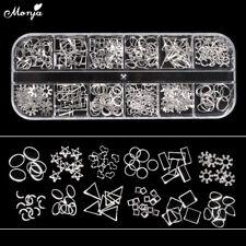 12 Grid Nail Art Shell Star Moon Oval Metal Rivet Studs Chain 3D Decoration