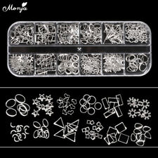 12 Grid Nail Art Star Moon Shell Heart Metal Rivet Studs Chain Charm Decoration
