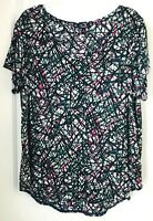 Simply Vera Vera Wang Womens Plus Size 1X Multicolor  Short Sleeve Shirt Top