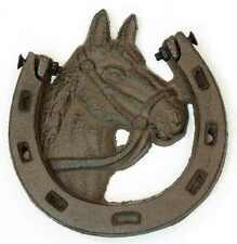 """Solid Cast Iron Horse Shoe Door Knocker 5"""" x 5 1/4"""" (Eae)"""