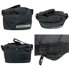 Diesel Italy Canavas Trim Messenger Carry Bag Black Gray Fat Shoulder Strap