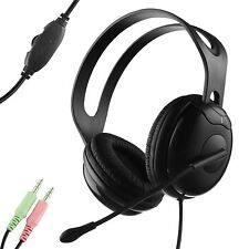 Durherm Stereo Headphone w/ Boom Microphone for Office Desktop Computers VOIP