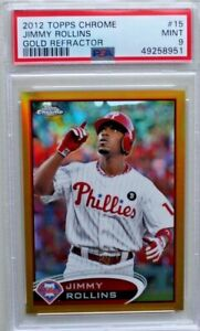 2012 JIMMY ROLLINS Topps Chrome #15 Gold Refractor 49/50 PSA 9 mint!