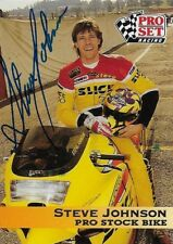 STEVE JOHNSON AUTOGRAPHED 1992 PRO SET RACING NHRA MOTORCYCLE PHOTO TRADING CARD