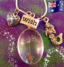 Mermaid Wish Real Flower Solid Glass Pendant 925 Sterling Silver Necklace Gift