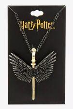 Harry Potter Hematite Tone Wings Flying Key Pendant Necklace