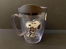 Tervis Snoopy Peanuts - Felt Tumbler with Emblem and Brown Lid 16oz Mug, Clear