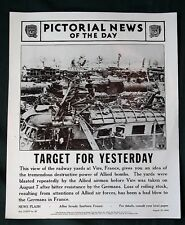 Orig 1944 News Poster - French Railroad Yards Bombed by Allies - WW II