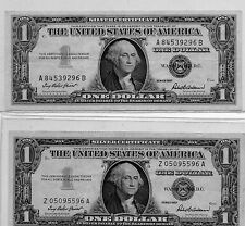 TWO --Vintage U.S. One Dollar Paper Money ~ $1 Silver Certificate Series 1957